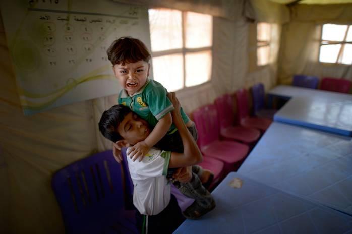 I lägret som tidigare fungerade som skola pågår inte längre någon undervisning. Foto: URBAN ANDERSSON